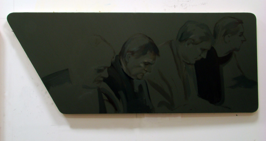 2009 oil on wood 15 x 42 inches