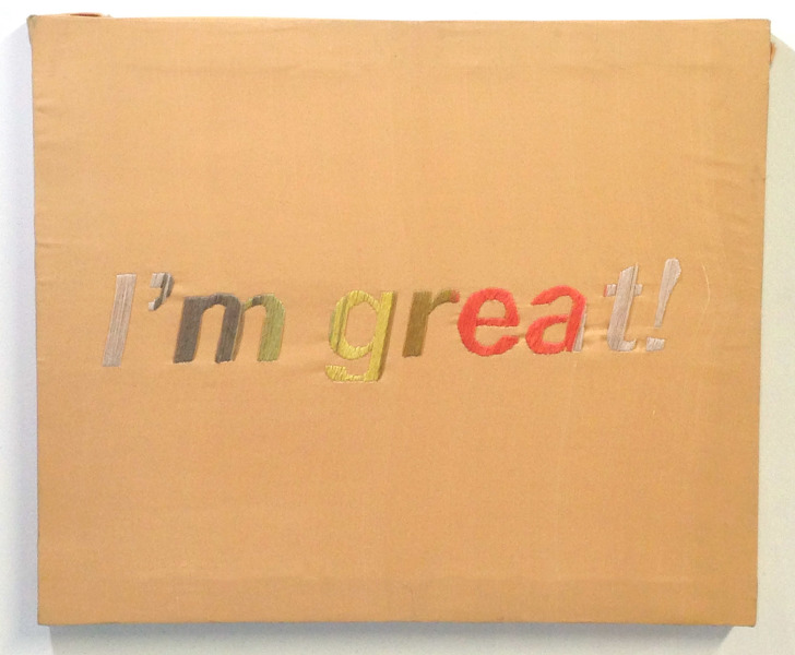 How are you? 2014 embroidery on polyester, 18 x 22 inches