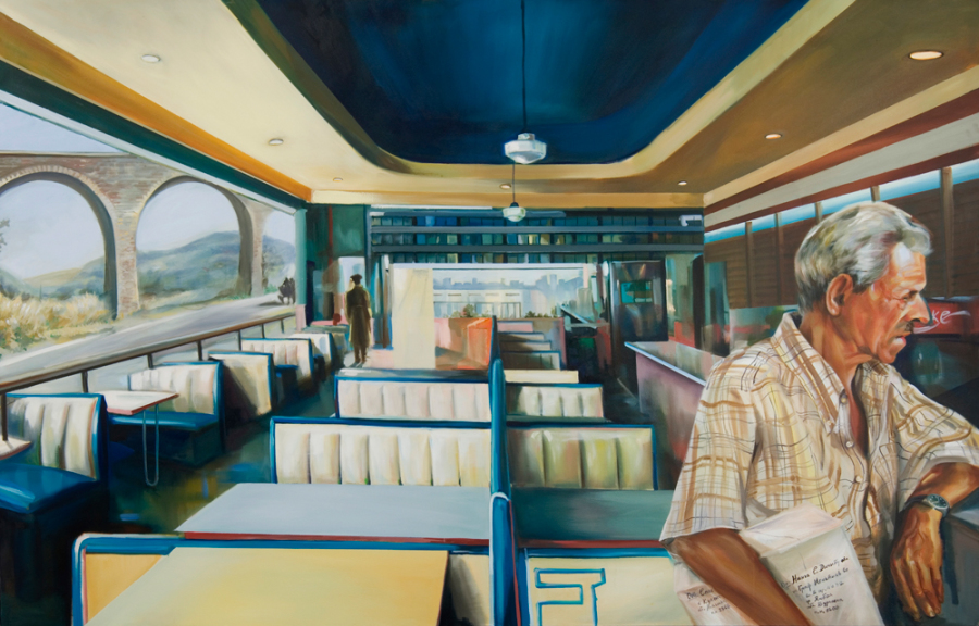 Diner, 2007, oil on canvas, 4 x 7 ft